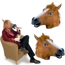 Theater Prank Crazy Party Latex <span class=keywords><strong>Halloween</strong></span> Paard Party Hoofd Masker Creepy Animal Kostuum QMAK-1068
