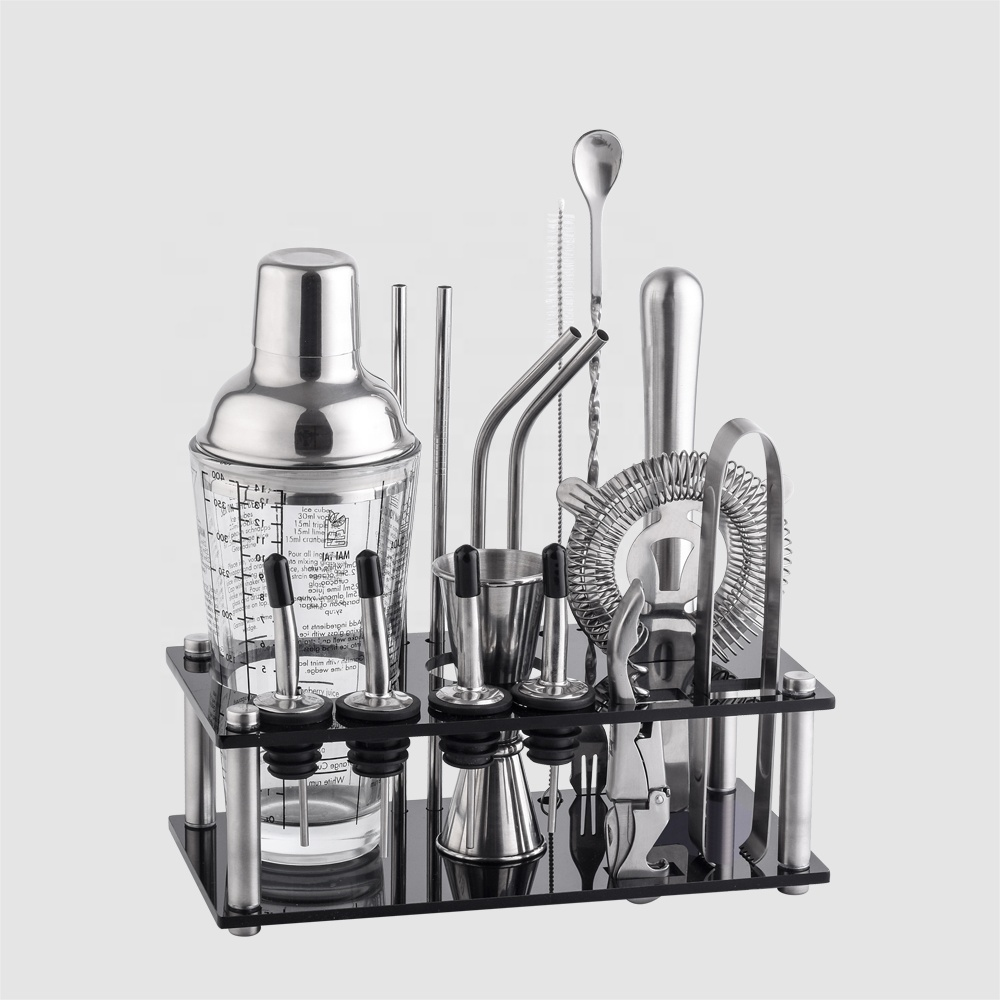 Factory Direct 400ml glass barware bartender stainless steel cocktail shaker bar tools set with acrylic frame stand