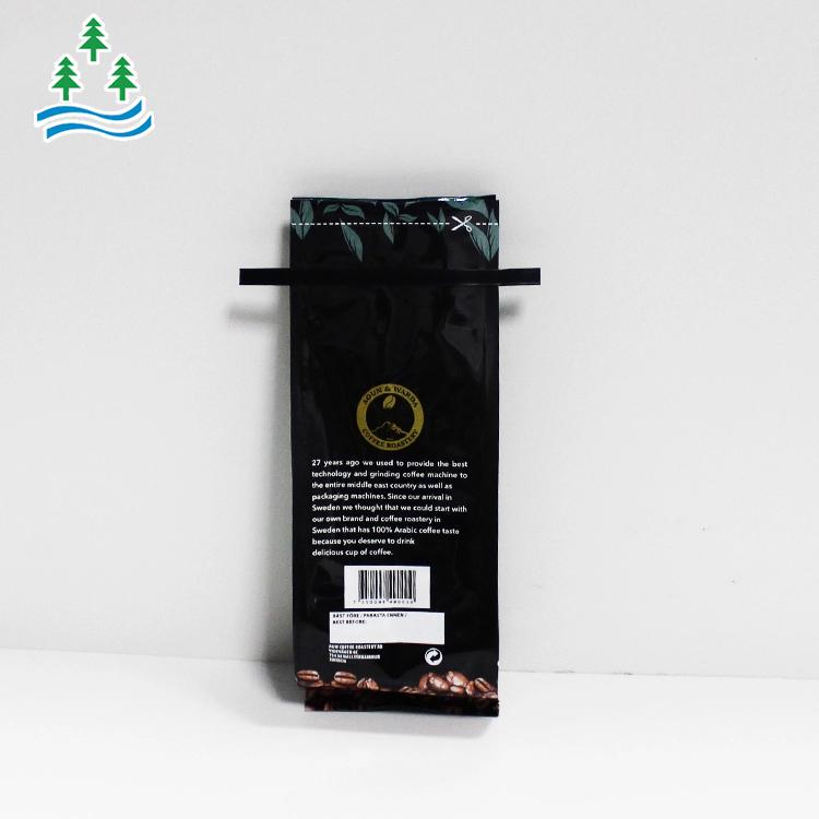 Custom printed food grade top heat seal tin tie aluminum foil side gusset coffee bean pouch packaging bags