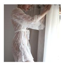 Вечернее сексуальное кружевное платье из тюля с трусиками, пижама, женское белье, ночная рубашка с длинным рукавом, женский халат для подруж...(Китай)