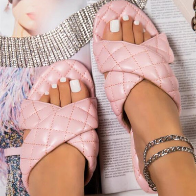 Summer Slippers Cross Belt PU Women Sandals Flat Jelly solid color Shoes Non-slip Beach Shoes Home Casual shoes