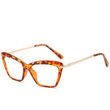 Винтажные Квадратные прозрачные очки женские прозрачные линзы оправа для очков в стиле кошачьи глаза женские очки унисекс анти-синий свети...(Китай)