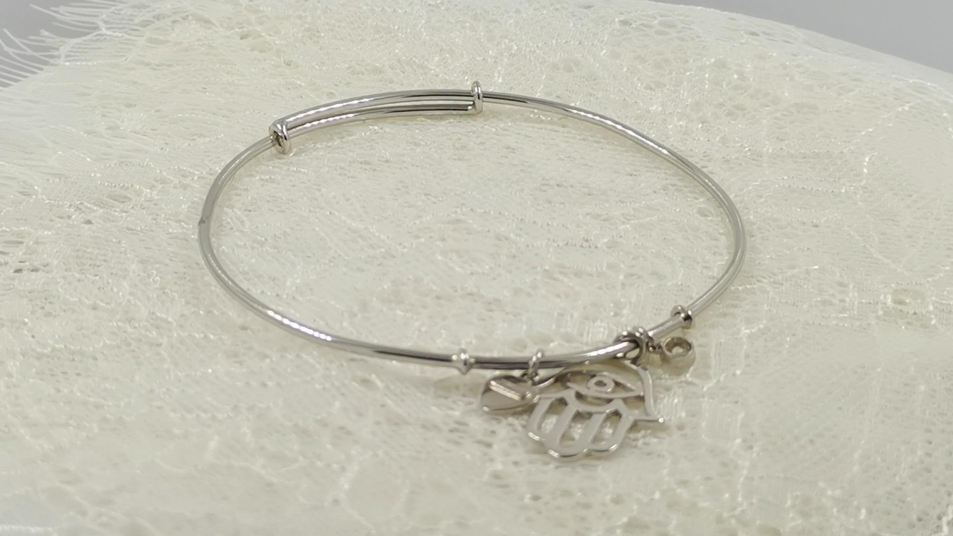 White CZ Jewelry Customize Daily Wearing  Sterling Silver  Charm Women bangle Bracelet