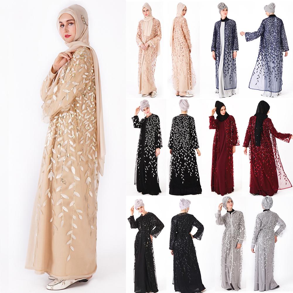 2020 Abaya Islamitische Kleding Bloemen Pailletten Open Voorzijde Kimono Lange Mouw Vest Voor Avond Prom Kaftan Abaya Moslim Jurken