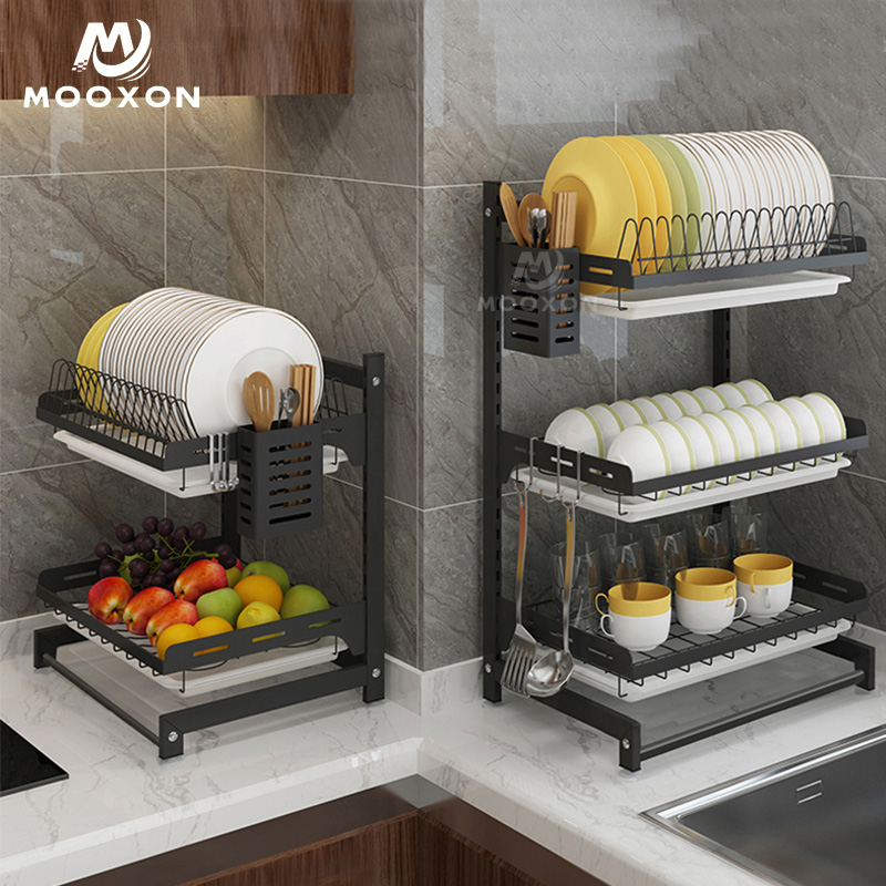 2/3 Tiers Plate Bowl Drainer Rack Metal Drying Storage <strong>Shelf</strong> Kitchen Dish Organizer