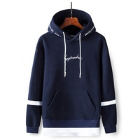 Custom Clothing Manufacturers Khaki Navy Oversized Plain Pullover Hoodies With September Embroidery