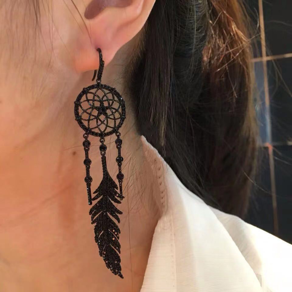 product-BEYALY-Feather Design Black Cz Earring Findings, Personality Asymmetrical Dream Catcher Earr