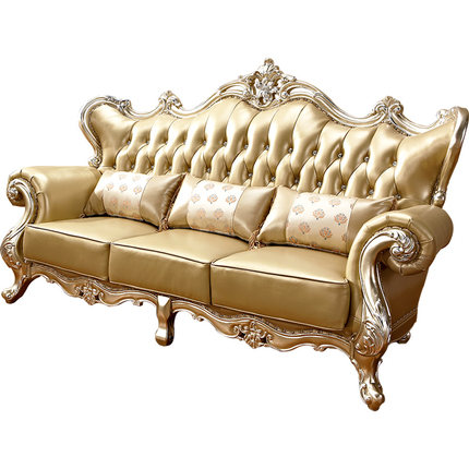 European royal style sofas king luxury gold antique classic leather living room furniture sofa set designs