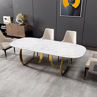 Dining room furniture dining table set modern with stone marble top and stainless steel legs 6 restaurant dining chairs