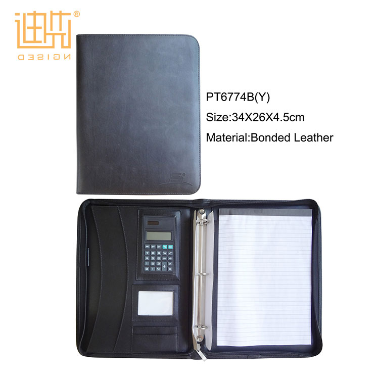 High quality fashion office conference black a4 leather portfolio folder