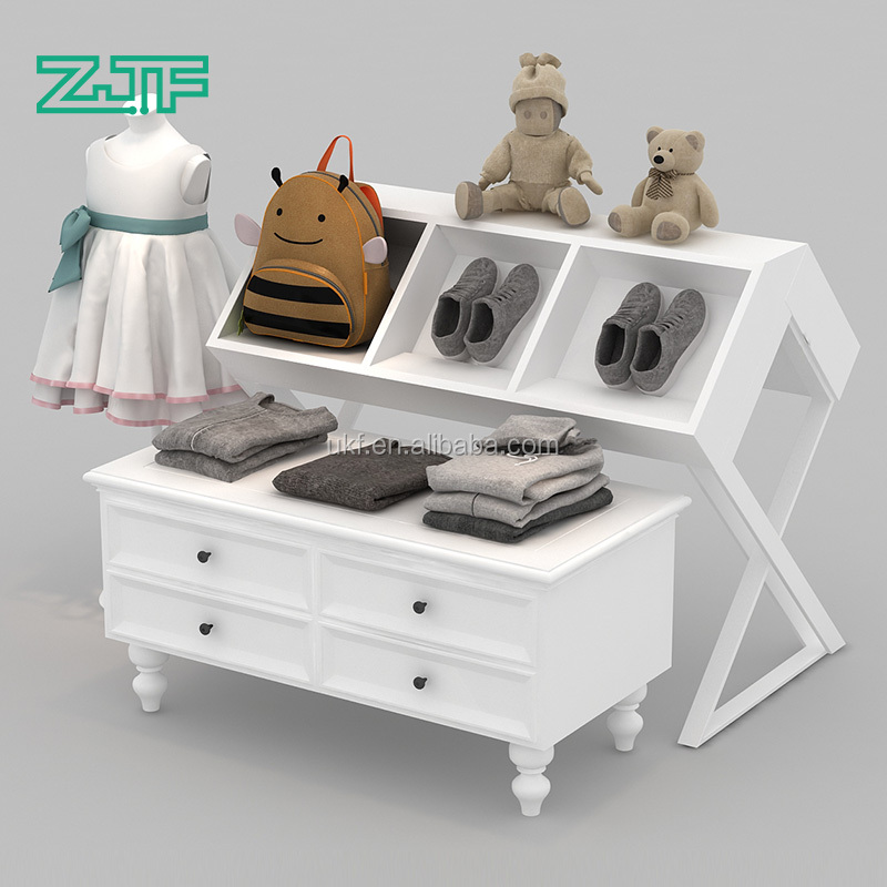 Unique white magazine wood display rack commercial product cloth display table with drawers