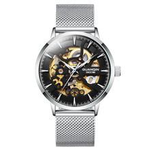 GUANQIN2020 новые мужские часы, автоматические механические золотистые часы-скелетоны, ретро мужские часы, мужские часы, лучший бренд класса люк...(Китай)