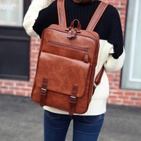 New trend Men Vintage PU leather fashion women's leather backpack Laptop School Bookbag
