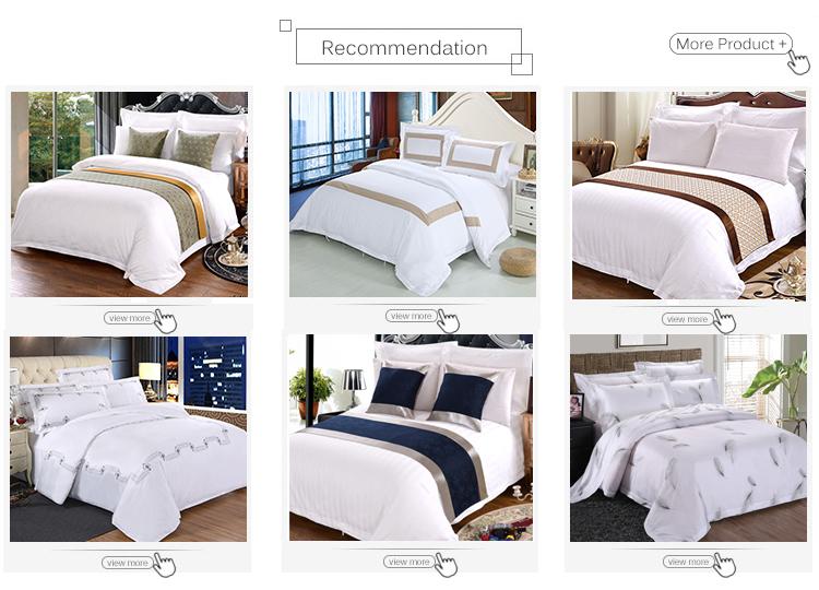 Townzi Hotel Menyediakan 100% Kapas Putih Polos Desain Grid 4 PC Sprei Hotel untuk Hotel Bintang 5