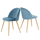 Modern home furniture Cheap blue Velvet fabric wooden transfer painting dining chair with metal legs