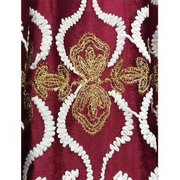 wholesale keqiao bohemian curtain red and gold curtain fabric livingroom curtains
