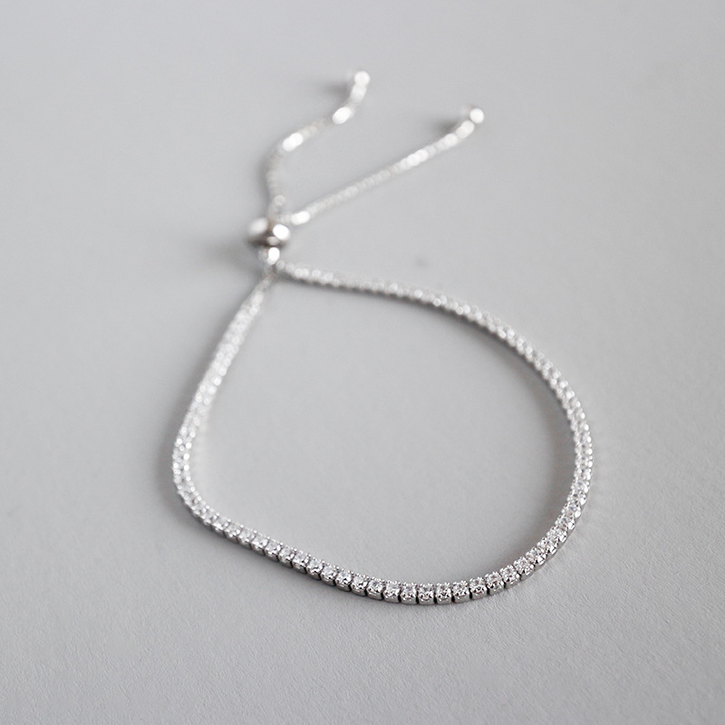 2020 NEW 925 Sterling Silver AAA <strong>CZ</strong> Crystal 2MM <strong>Tennis</strong> Chain <strong>Bracelet</strong> for girl