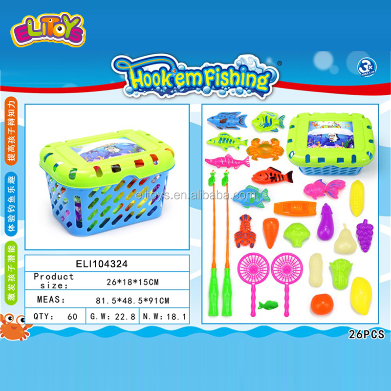 2020 Hot Sale Summer Toy Kid Fishing Game Set Toys With Magnetic Plastic Fishing Rod 26PCS