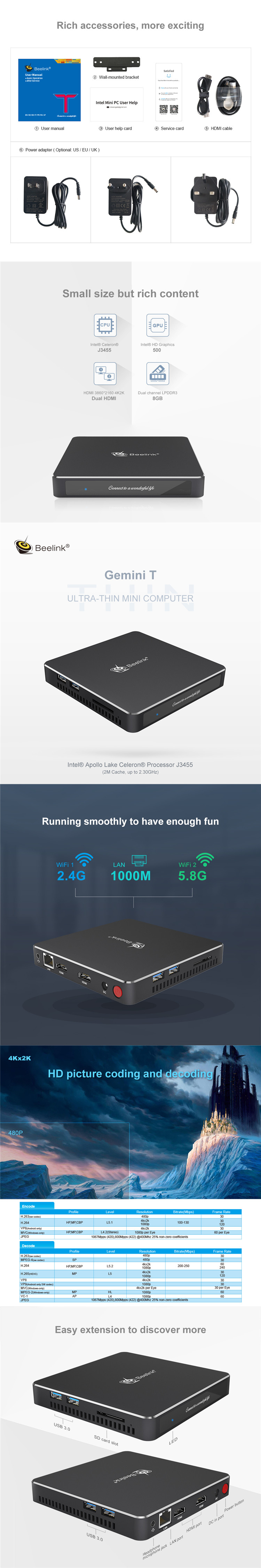 Cheapest Beelink Gemini T34 J3455 Win10 mini pc ram 8gb rom 64gb dual wifi Beelink desktop Gemini T34 J3455