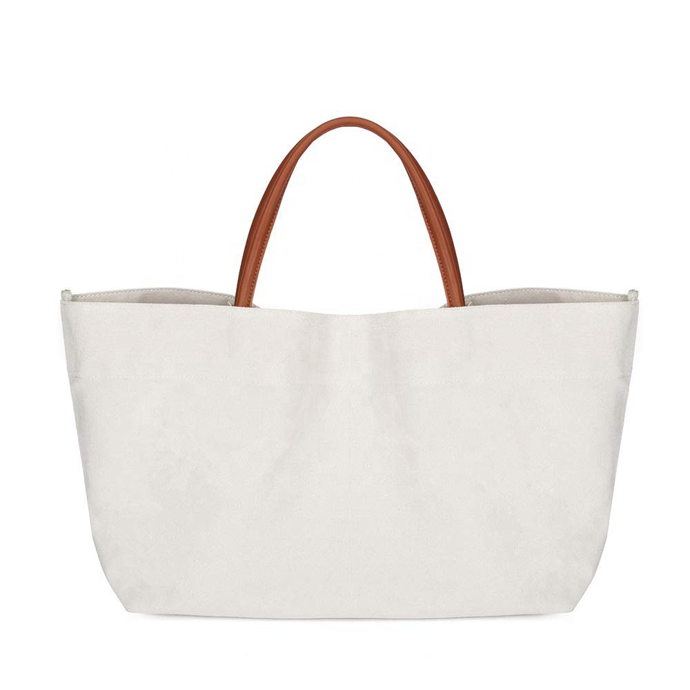 Custom Heavy Duty Womens Korean Cotton Shopping Bags Plain Canvas Tote Bag With Leather Handles