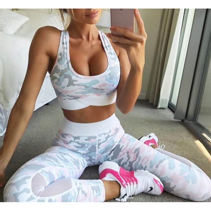 Camouflage Mesh Fitness Sport Suits Women's Yoga Clothing Set Sexy Workout Sportswear Female Tracksuits Athletic Running Clothes