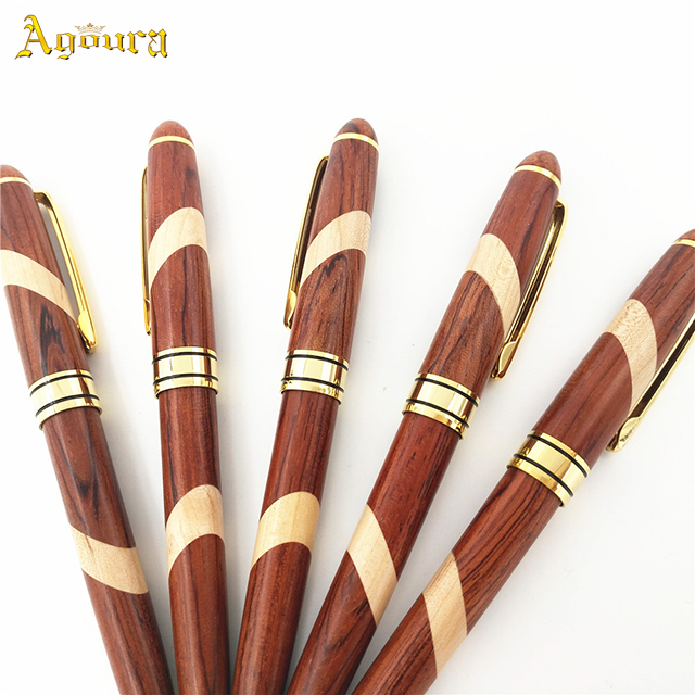 Accept custom natural wooden pen 0.7mm rosewood and maple ballpoint pen