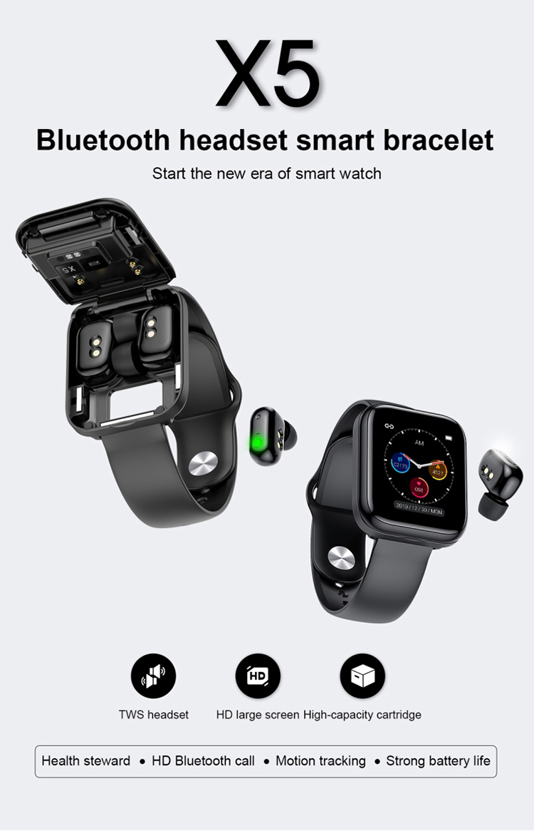 Newest 1.54inch BT Calling Smart Bracelet Gold Black X5 TWS Dual Earphones 2 in 1 Smart Fitness Tracker Watch