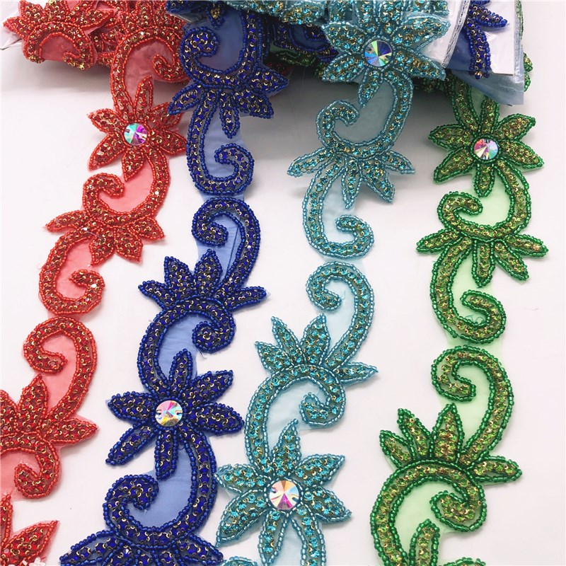 Color Crystal Motif Strass Hot Fix Rhinestone Tape Applicator Ribbon With Rhinestones Iron On Appliques for wedding dresses belt