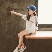 Детская одежда для девочек на лето 2020, футболка с капюшоном + шорты, спортивные костюмы для подростков 3, 4, 5, 6, 7, 8, 9, 10, 11, 12 лет, детская одежда(Китай)
