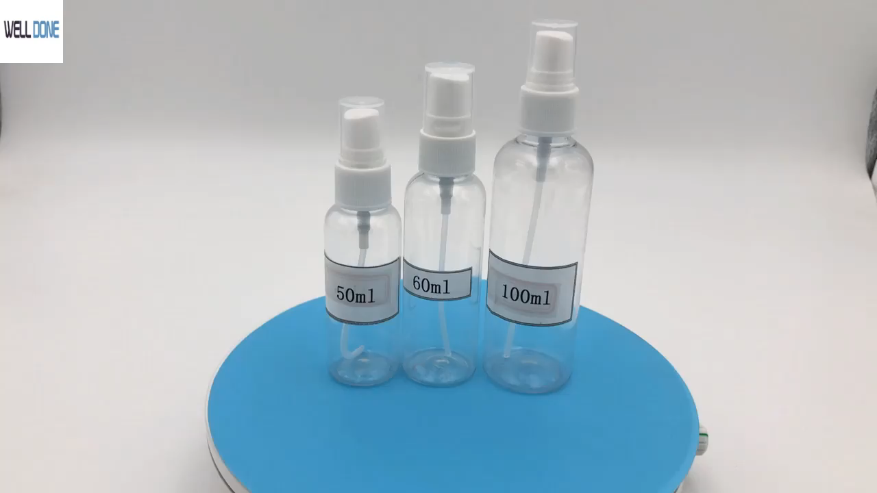30ml 50ml 60ml 80ml 100ml PET spray nebel flasche oder sprayer heißer verkauf lieferung schnell