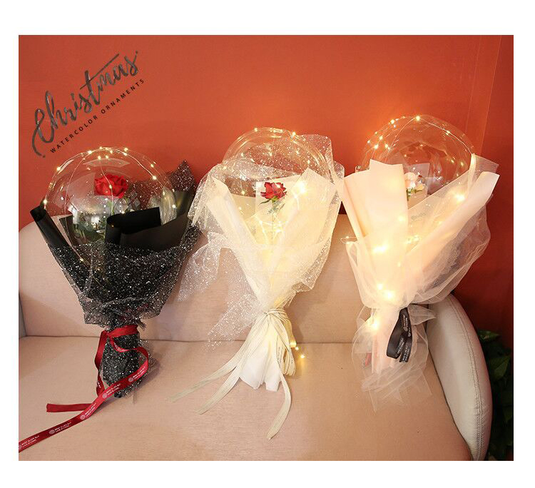 INS New products Valentine gifts transparent bobo ballon led round rose bobo balloons rose flowers for girl lover gift