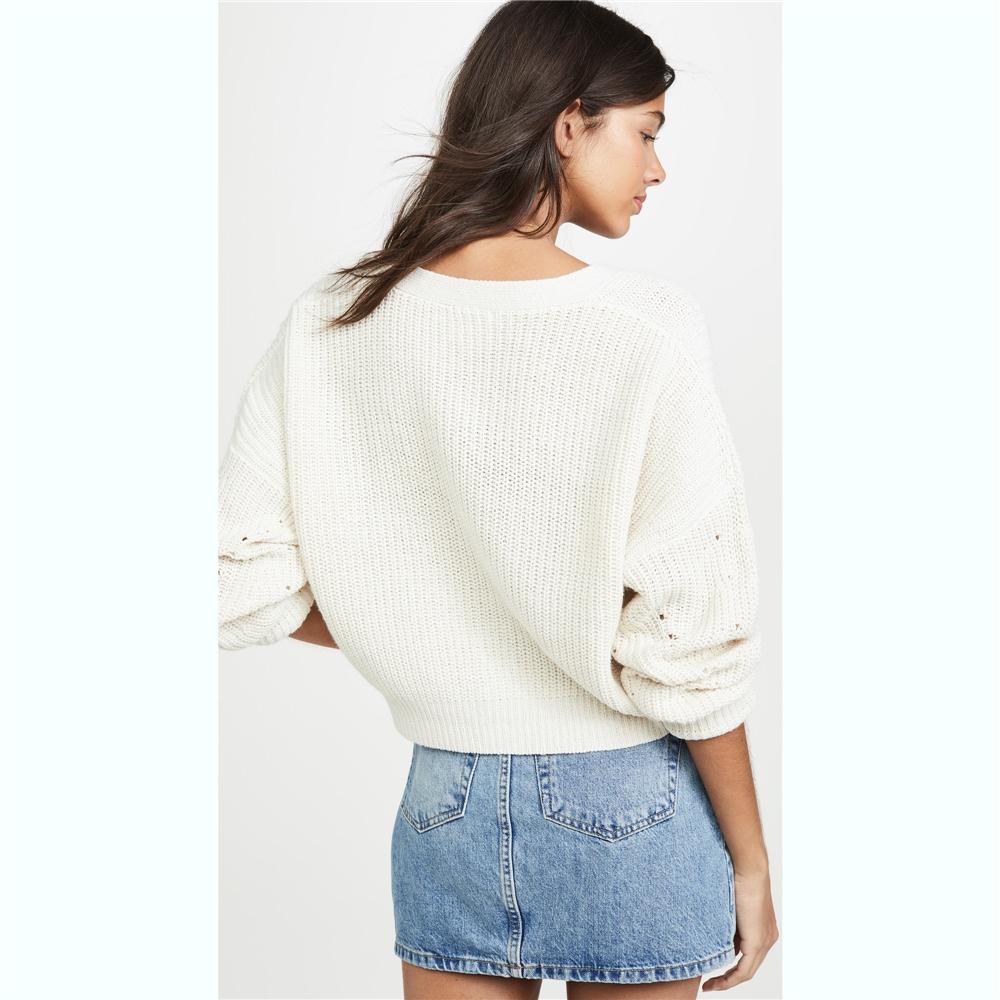 2020 populaire sexy col en V mince tricot crop tops pull pour les femmes