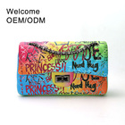 PU leather new fashion designer rainbow color purse woman ladies women shoulder bag purses handbags lady handbag graffiti bags