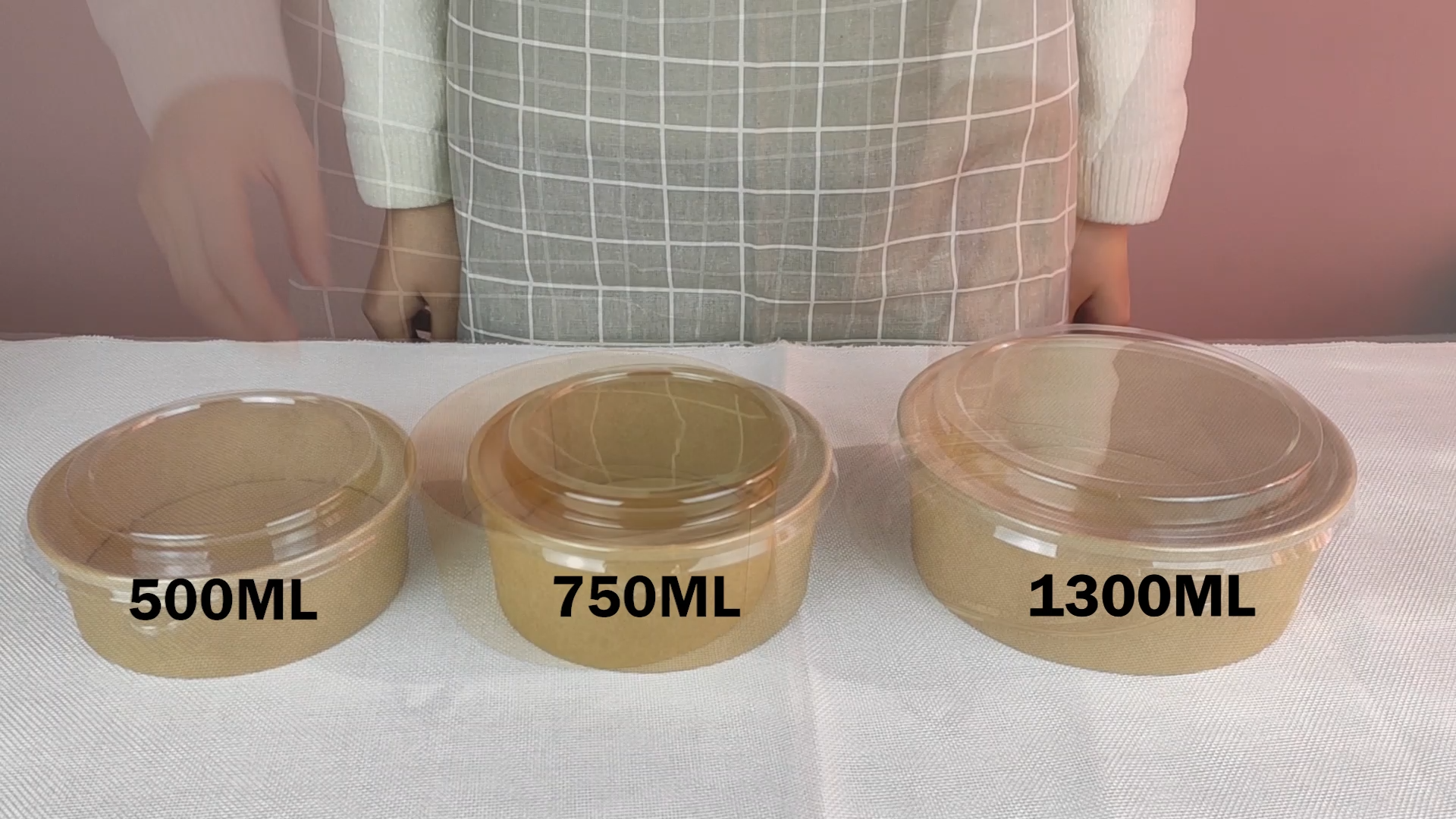 1300ML Popular Brown Kraft Disposable Paper Salad Bowls with Clear PET Lids