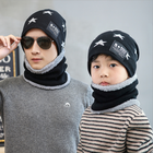 Fashion Star Style Parent child Winter Outdoor Knit Warm Heavy Knitting Beanie hat and scarf set