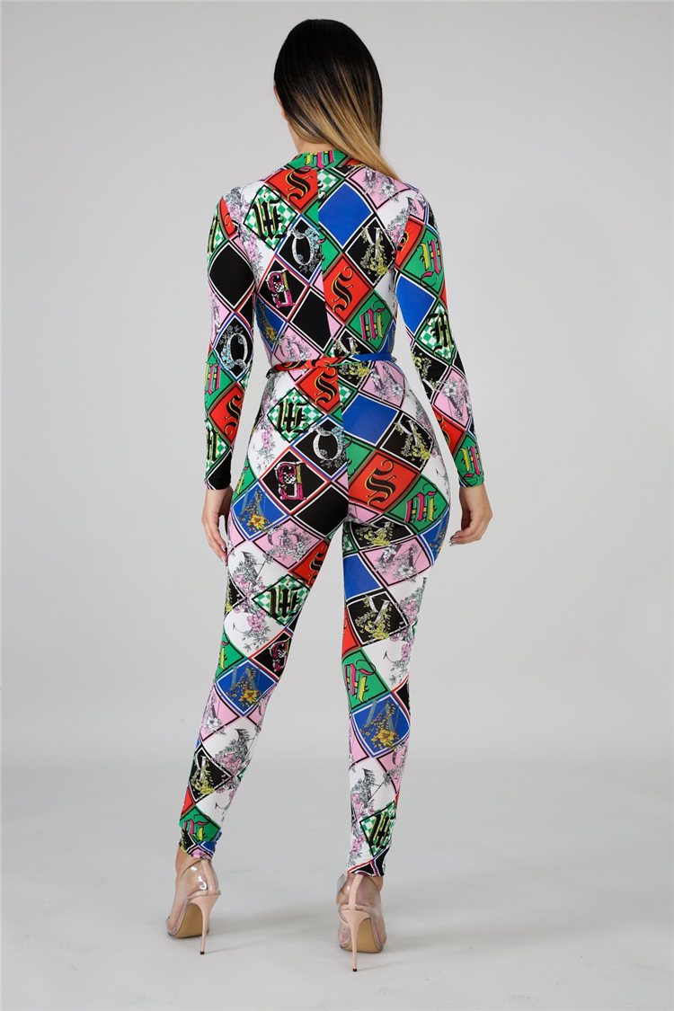 XM-20729107 Sexy zip up v neck long sleeve digital printing belt fashion woman slim jumpsuit