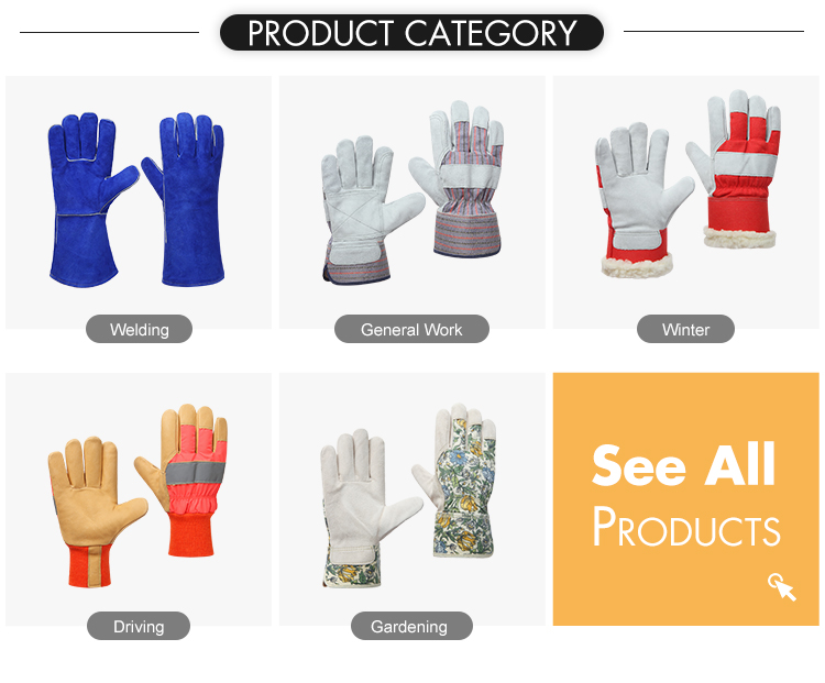 Wholesale palm reinforcement cow split leather industrial protection safety work driver gloves