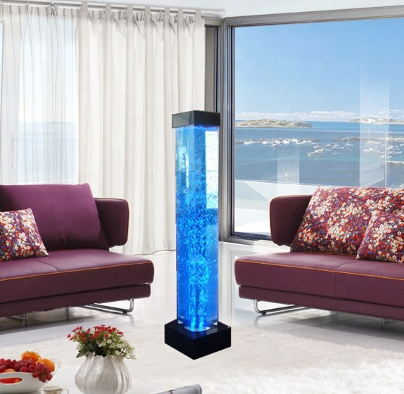 beautiful square water bubble light tube changing colours led bedroom furniture