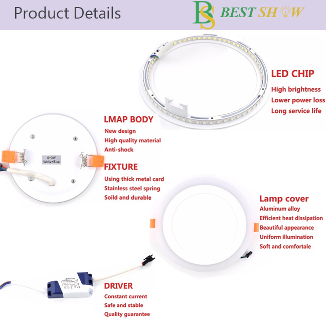 Round Square Muti Two colors led panel light 18w 6w 24w 9w 3+3w 6+3w 12+4w RGB double color led light panel