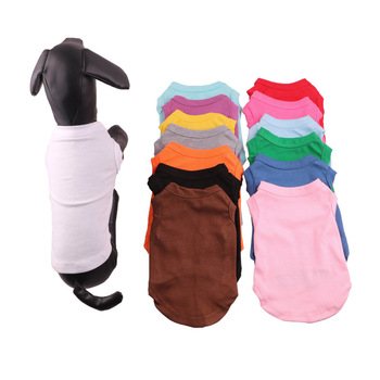 Wholesale Multicolor Pure Cotton Blank Custom Logo Pet Clothes Dog T Shirt
