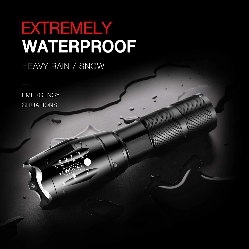 Outdoor Led Xml- T6 Powerful Torchlight High Lumen Handheld Flashlight Water Resistant Mechanically Powered Led Torch Flashlight