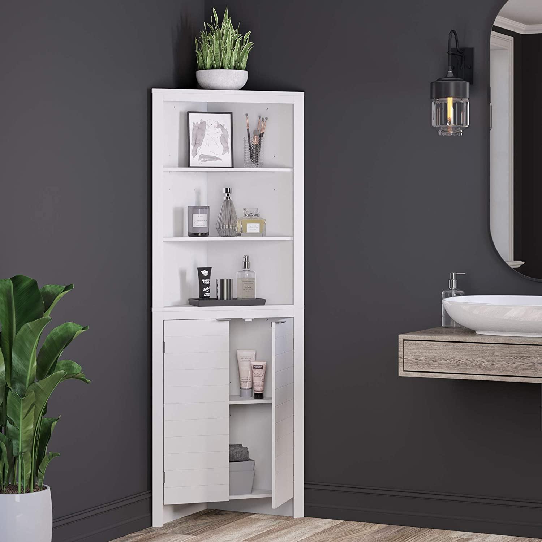 Combohome สำนักงานตู้ไม้ห้องน้ำตู้ประตูบ้าน Elegant และประหยัดพื้นที่สูงสีขาวมุมตู้