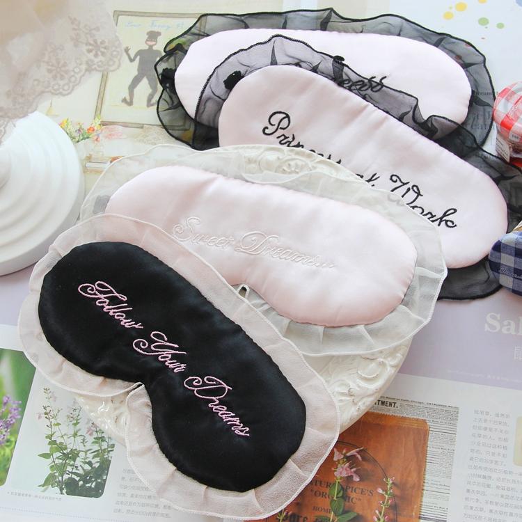 Double face personnalisé imprimé cercle sombre noir satin de soie rose chat masque pour les yeux d'ombrage cils