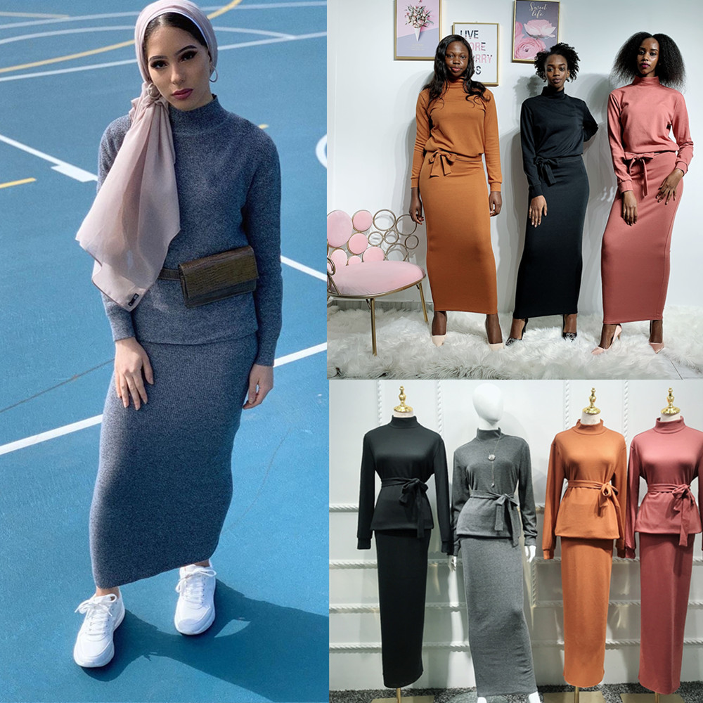 New muslim fall/winter women knitted abaya dress sweater skirts sets