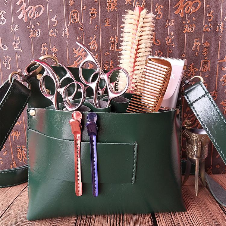 Bolso de herramientas de peluquería duradero de cuero portátil multifuncional de nuevo diseño con cinturón ajustable