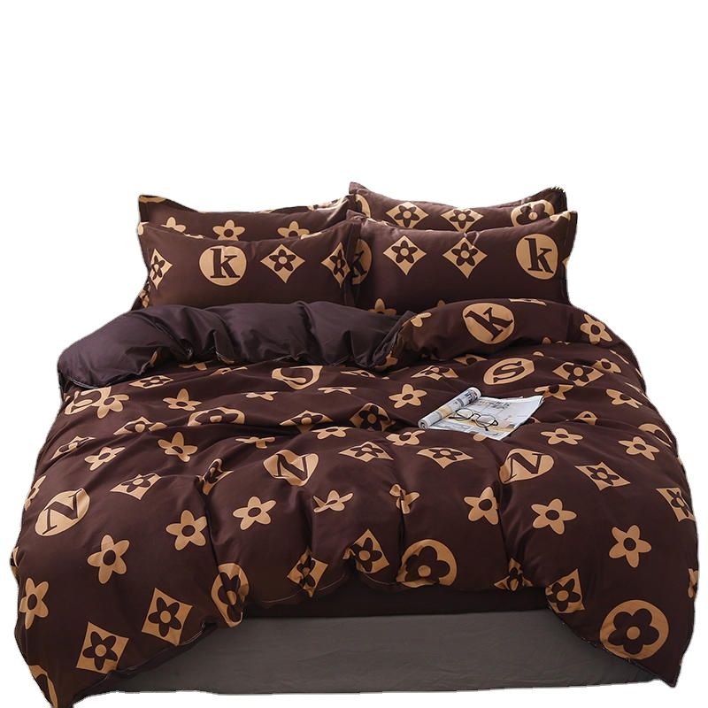 fashion luxury design printed polyester bedding set bed <strong>sheet</strong>