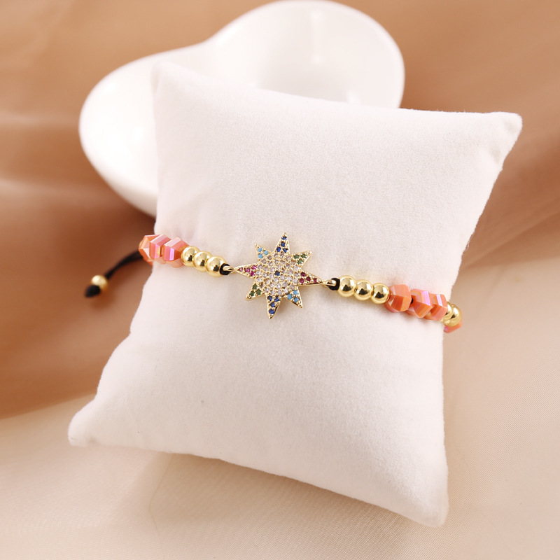 BM019 Trade Assurance 2020 New Design Fashion Zircon Star Flower Eye Charm Bracelet Bohemia Handmade Beaded  Women Bracelet