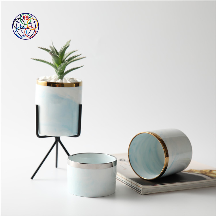 Cheap wholesale small indoor plant pot home decor wedding decoration marble ceramic succulent pots with metal rack