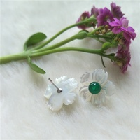 Wholesale fashion women agate stud natural mother of pearl flower earring