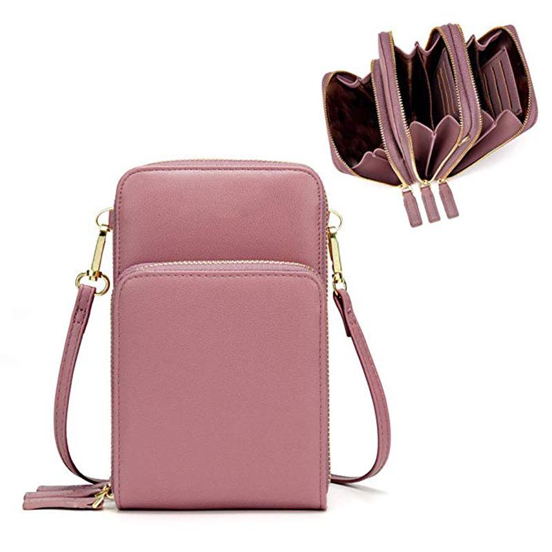 Multi-função pu leather mini crossbody ombro saco de telefone celular bolsa de telefonia móvel sacos